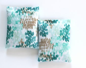 2 Lavender Bags, Watercolor Drawer Sachets in Teal Mint Beige, Unique Gifts for Mom, Botanical Decor