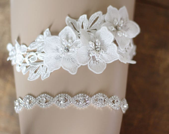 Crystal Wedding Garter set, floral garter, NO SLIP grip vintage rhinestones, custom garter, simple garter, rhinestone garter E27-EB19S