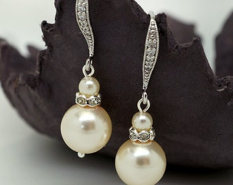 Vintage Style Bridal Earrings, Teardrop Wedding Earrings, Ivory Pearl Earrings, Bridal Jewelry,Drop Pearl Earrings Wedding Jewelry  brides