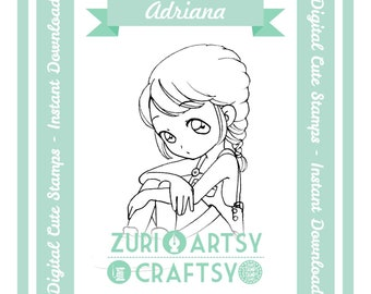 Adriana,  Digital Stamp, Cute Girl, Scrapbooking Digital Stamp, Instant Download, Zuri Artsy Craftsy