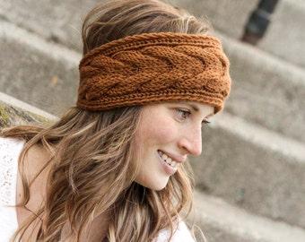 Knitted Teenage/Adult Headband, Teenage girl, Adult Ear Warmer, Handmade, Winter Ear Warmer, Cable Knit Headband