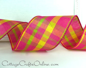 """Wired Ribbon, 2 1/2"""" Hot Pink, Bright Yellow, Lime Green Plaid, THREE YARDS,  """"Summery Chic"""", Spring, Easter, Summer Wire Edged Ribbon"""