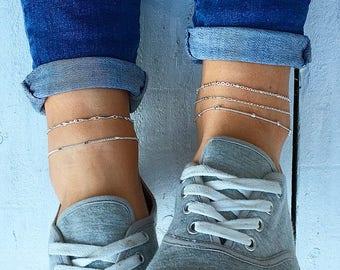 Silver Beaded anklet, Silver ankle bracelet, Beaded Anklet, Anklet Boho, Anklets for Women, Silver Chain Ankle Bracelet by Serenity Project