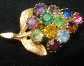 Vintage Many Colored Rhinestone Grape Cluster Brooch Costume Jewelry