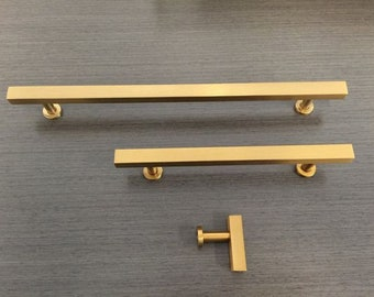 """Brass Drawer Pull and Knobs """"European"""" Brass Drawer Pulls and Brass Cabinet Knobs"""