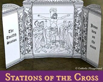 Printable: Stations of the Cross Triptychs coloring
