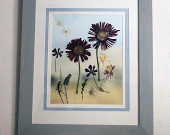 """Red Gerbera """"Growing Together"""" pressed flower custom framed composition"""