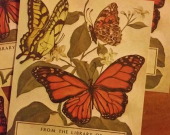Vintage Antioch Book Plates - Butterfly Painting on Ecru Paper  - Tom Till 1990 - Set of 5 Bookplates
