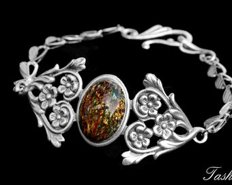 Victorian Floral Charm Bracelet, Art Deco Silver Jewelry, Vintage Harlequin Opal