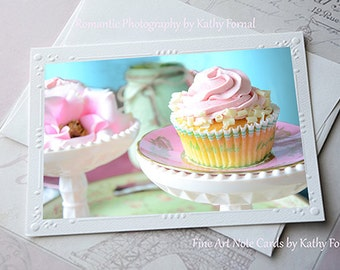Cupcakes Note Card, Shabby Chic Cottage Cupcakes Note Card, Kitchen Decor, Cupcakes Food Photography, Cottage Pink Cupcakes Fine Art Cards