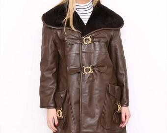 Vintage 80s Brown Leather Faux Fur Buckle Coat. Medium. UK 14/16.