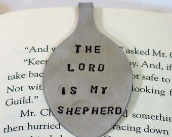 Bookmark - Recycled silverware bookmark - Religious - Spoon bookmark - The Lord Is My Shepherd - Religious gift - Psalm 23 - Bible marker