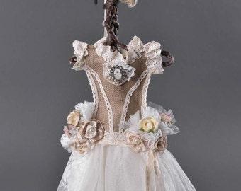 Dress, Decorative, Vintage Style Dress, Wedding, Christening Decoration, Pearls, Lace , Organza Fabric, Artificial Flowers, Handmade, 50cm,