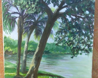 Old Vintage Painting Florida Palm Tree Landscape Original Artist Signed K Falcon
