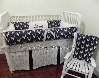 Custom Baby Bedding Set Elijah - Boy Crib Bedding, Deer Baby Bedding, Navy Baby Bedding, Woodland Nursery Bedding