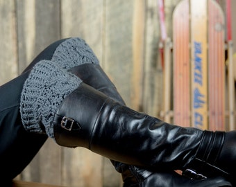 Cable boot cuffs - cabled boot socks - snow boot socks - thick boot toppers - winter accessory - chunky boot socks - boot accessory