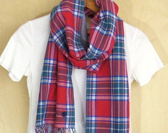 "Soft cotton, Red Plaid Scarf, double gauze reversible - red, blue, peacock green, yellow and white / navy fine check  - 14.5"" wide"