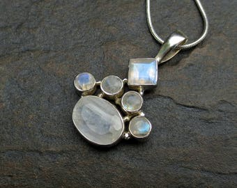 Rainbow Moonstone Pendant Necklace, Rainbow Moonstone Silver Jewelry, June Birthstone, Gift for Her
