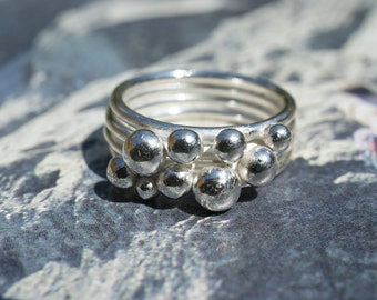 Sterling Silver Four Band Ring With Random Silver Balls, asymmetric ring, layered ring, scattered silver balls, granulated ring.