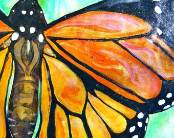 SOLD Monarch Floor Cloth 2'X4' Canvas painting on Etsy  Can be hung on the wall too.