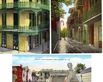 Louisiane de cartes postales anciennes lin Nouvelle Orléans ~ Lot de 3 cartes postales