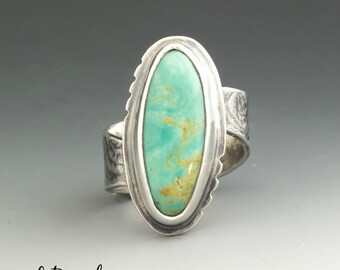 Turquoise Ring Turquoise Silver Turquoise Jewelry Turquoise Stone Silver Ring Statement Ring Metalsmith Metalwork Handmade artisan jewelry