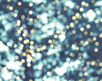 winter photography bokeh abstract photography sparkle 8x10 24x36 fine art photography fairy lights winter teal gray wall art christmas large