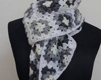 Grey and white granny square scarf, Granny square scarf, Neck warmer,  Granny square, Grey and white