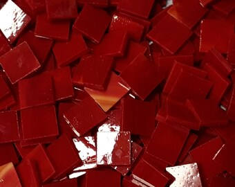 Red White Streaky Stained Glass Mosaic Tiles