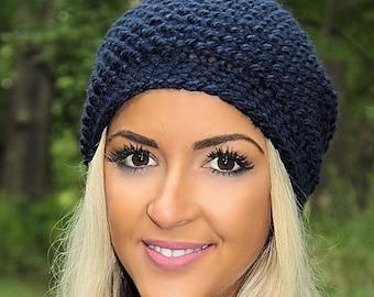 Blue Slouchy Hat, Blue Slouchy Beanie, Navy Blue Hat, Navy Blue Beanie, Blue Crochet Hat, Navy Blue Winter Hat, Dark Blue Hat, THE ASPEN