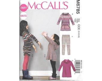 Girls Long Sleeve Tunic Dress Leggings Knits 3 to 6 Sewing Pattern McCalls M6785