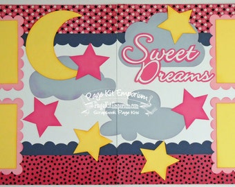 Scrapbook Page Kit Sweet Dreams Baby Girl 2 page Scrapbook Layout 113