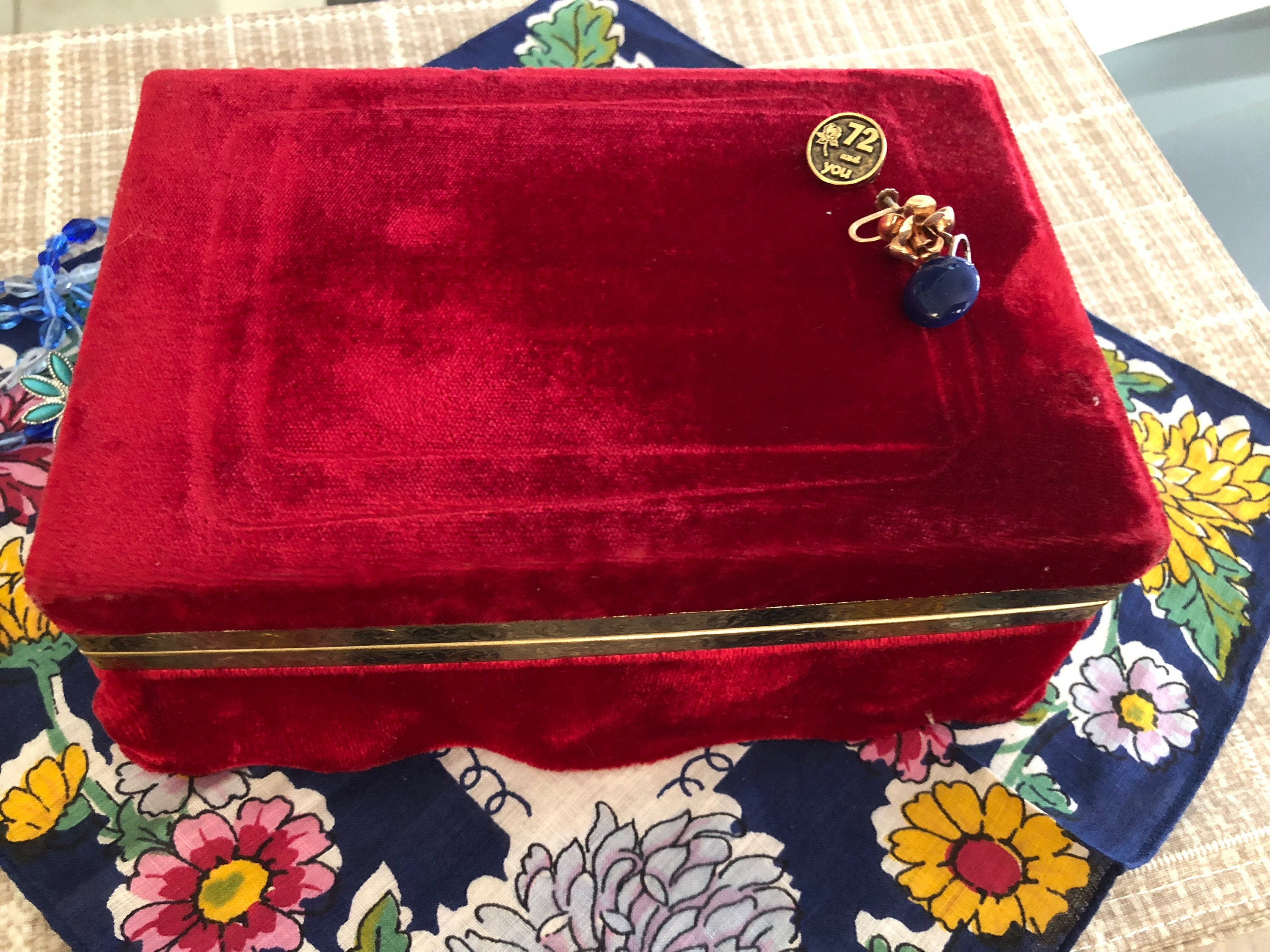 Jewelry Box Red Velvet Jewelry Box Vintage two compartment