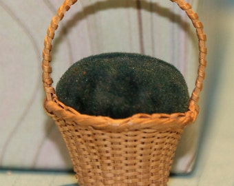 Victorian Hand Made Basket Pin Cushion, Possibly Shaker