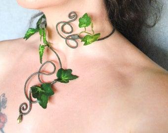 Green ivy necklace neck cuff choker poison ivy cuffs
