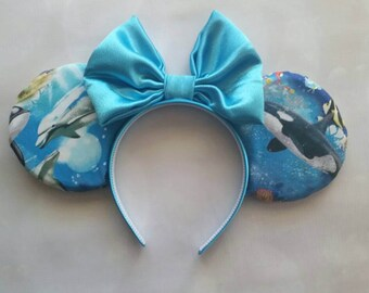 Ocean themed reversable Mickey ears
