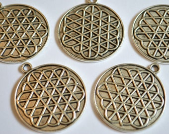 5 x Flower of Life Pendants ~ Antique Silver ~ Lead and Nickel Free