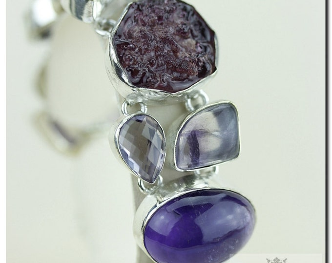 Molten Resin Amethyst Cabochon Faceted Lavender Amethyst Lace Agate 925 SOLID Sterling Silver Bracelet & FREE Worldwide Shipping