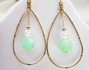 Gold Teardrop Hoops with Mint Green, Crystal, and Gold Beads