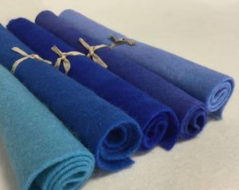 5 Piece Hand Dyed Felt Pack - Blues