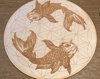 Koi Fish Flower of Life Crystal Grid - 3, 6, 9 or 12 Inches - Wooden Crystal Grid - Animal Spirit - Totem