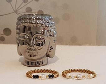 Hematite Gold and Silver-magnesite Green Buddha Bracelet Gift for him or Her. Hematite Bracelet. Healing Bracelet Buddha. Christmas Gift
