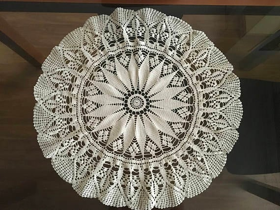 Wedding Round Doily Crochet Cotton Tablecloth Lace Doilies Large Beige Centerpiece Handmade Crocheted Vintage Boho Wedding Gift Lace table