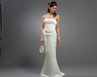 Slinky fishtail satin wedding dress