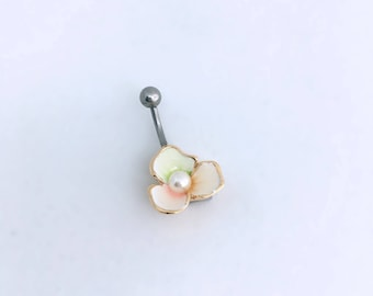 flower belly ring, pearl belly ring, rose, barbell, belly button ring, belly button ring, silver enamel bar belly ring PEARL RAINBOW FLOWER