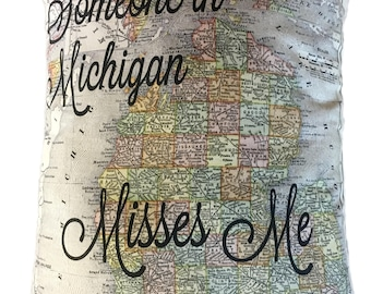 Michigan Someone Misses Me Pillow Designed from 1908 Vintage Michigan Map