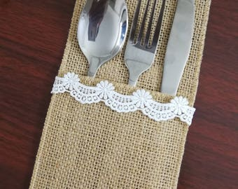 Set of 10-Wedding Table Set,Table Setting,Burlap Silverware Holder,Wedding Rustic Menu,Burlap table decoration,Rustic table decor, - (PY)16