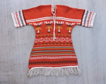 BEAT To HELL Rare Vintage 70s Southwestern  KNit Sweater Dress Fringe Pullover Poncho M