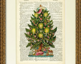 CHRISTMAS TREE with CANDLES -  Dictionary Page Print - charming victorian illustration on an antique dictionary page - Happy Holiday decor!
