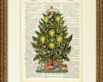 ARBRE de Noël avec des bougies - décor dictionnaire Page Print - charmante victorienne illustration sur une page de dictionnaire antique - joyeuses fêtes !